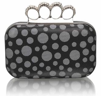 LSE00223 - Black Women's Knuckle Rings Clutch With Crystal Decoration