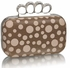 LSE00223 - Brown Women's Knuckle Rings Clutch With Crystal Decoration