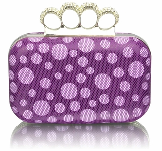 LSE00223 - Purple Women's Knuckle Rings Clutch With Crystal Decoration