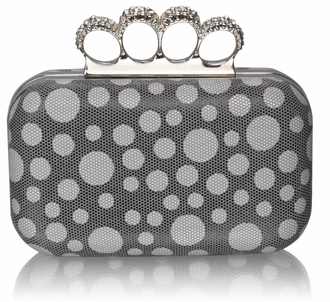 LSE00223 - Grey Women's Knuckle Rings Clutch With Crystal Decoration
