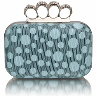 LSE00223 - Teal Women's Knuckle Rings Clutch With Crystal Decoration