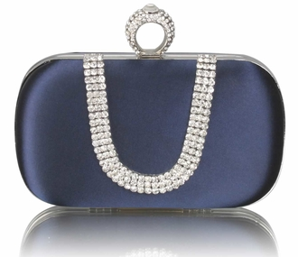 LSE00224 - Navy Sparkly Crystal Satin Clutch purse
