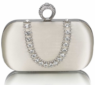 LSE00225 - Ivory Sparkly Crystal Satin Clutch purse