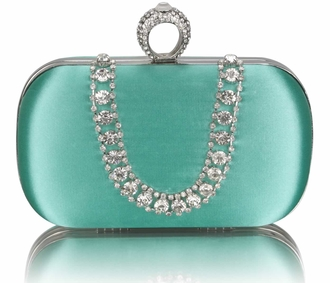 LSE00225 - Emerald Sparkly Crystal Satin Clutch purse