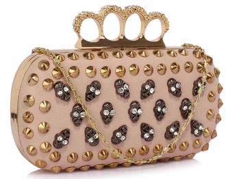LSE00231- Nude Women's Knuckle Rings Evening Bag