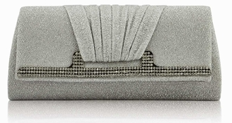 LSE00238 - Wholesale & B2B Silver Diamante Evening Clutch Bag Supplier & Manufacturer