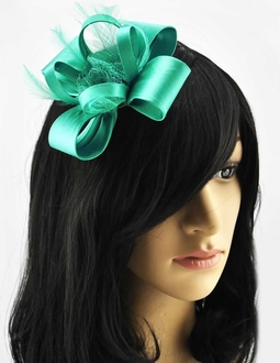 LSH00168-  Emerald Feather & Flower Fascinator