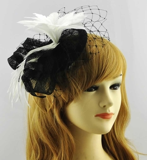 LSH00183 - Black /White Mesh Hat Feather Fascinator