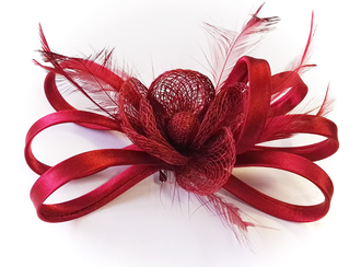 LSH00169 - Red Mesh  Feather Fascinator