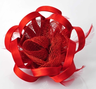 LSH00167 - Red Feather & Flower Fascinator