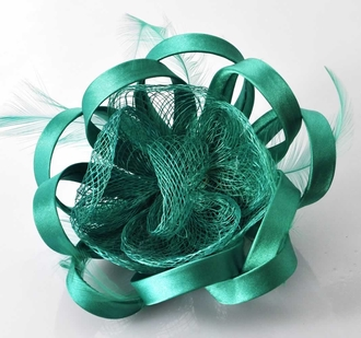 LSH00167 - Emerald Feather & Flower Fascinator