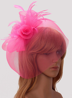 LSH00194 - Pink Mesh Hat Feather Fascinator