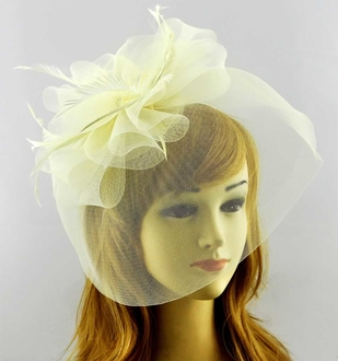 LSH00195 - Ivory Mesh Hat Feather Fascinator