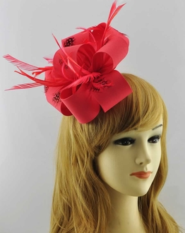 LSH00178 - Coral Feather & Flower Fascinator