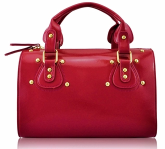 LS0043B - Red Studded Fashion Satchel Handbag