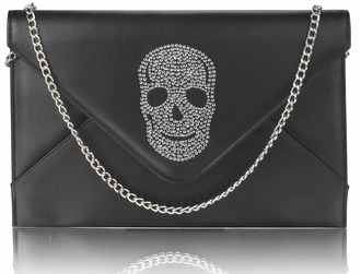 LSE00228 - Black Skull Flapover Clutch Purse