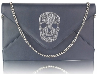 LSE00228 - Navy Skull Flapover Clutch Purse