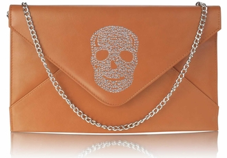 LSE00228 - Brown Skull Flapover Clutch Purse