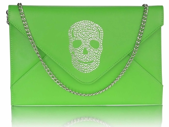 LSE00228 - Green Skull Flapover Clutch Purse