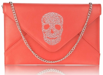 LSE00228 - Red Skull Flapover Clutch Purse