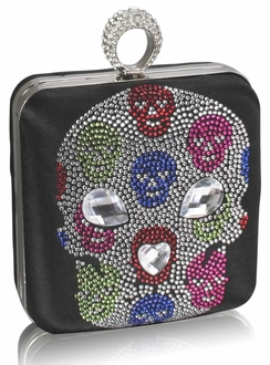 LSE00252 - Black Diamante Skull Clutch Purse