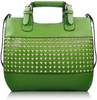 LS00106 -  Green Ladies Fashion Studded Tote Handbag