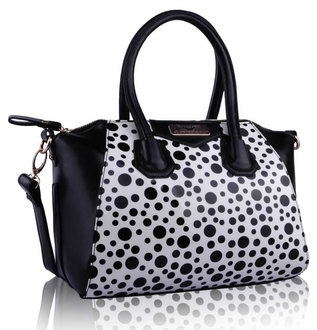 LS0075 - White Polka Dot Satchel Handbag