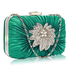 LSE006 - Emerald Gorgeous Satin Rouched Brooch Hard Case Blue Evening Bag