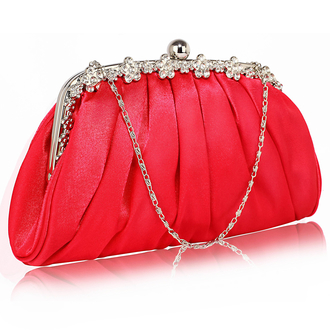 LSE0088 - Red Sparkly Crystal Satin Evening Clutch
