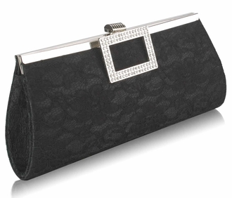 LSE00226 - Black Elegant Floral Satin Lace Clutch Bag