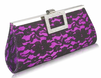 LSE00226 - Purple Elegant Floral Satin Lace Clutch Bag