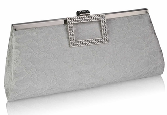 LSE00226 - Ivory Elegant Floral Satin Lace Clutch Bag