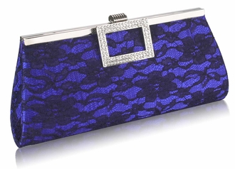 LSE00226 - Blue Elegant Floral Satin Lace Clutch Bag