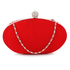 LSE0092 - Red Crystal Satin Evening Clutch