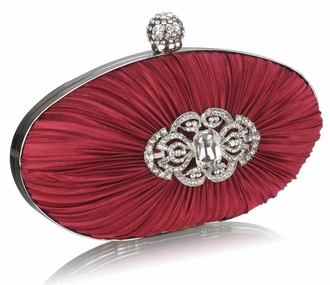 LSE0093 - Gorgeous Red Crystal Satin Rouched Hard Case  Evening Bag