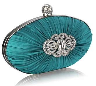 LSE0093 - Gorgeous Emerald Crystal Satin Rouched Hard Case  Evening Bag