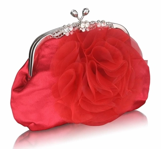 LSE00143 - Red Crystal Flower Satin Clutch