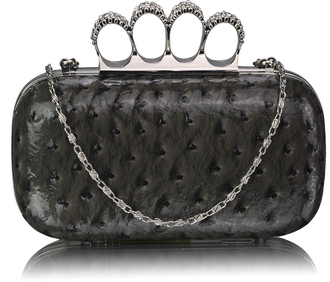 LSE00188A - Grey Ostrich Knuckle Rings Evening Bag