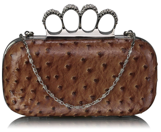 LSE00188A - Nude Ostrich Knuckle Rings Evening Bag