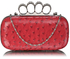 LSE00188A - Pink Ostrich  Knuckle Rings Evening Bag