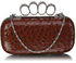 LSE00188A - Coffee Ostrich Knuckle Rings Evening Bag