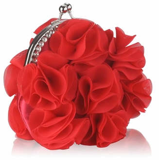 LSE00101 - Red Crystal Frame Satin Clutch