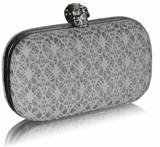 LSE0035 - White Satin Evening Clutch Bag