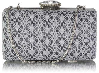 LSE0028 - Grey Satin Evening Clutch Bag