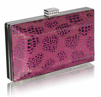 LSE0032 - Fuchsia Crystal Encrusted Clutch Bag