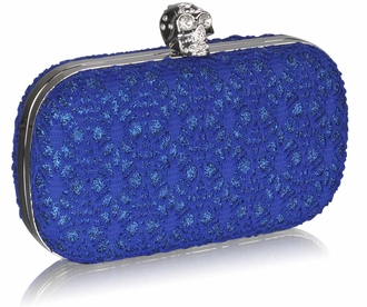 LSE0035 - Blue Satin Evening Clutch Bag