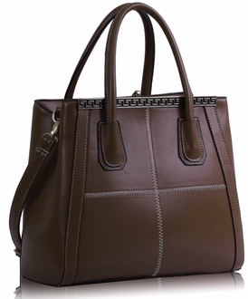 LS0030A - Brown Checkered Fashion Tote Handbag