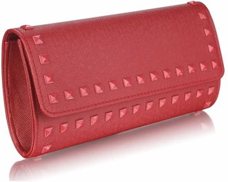 LSE0026 - Burgundy Studded Clutch Evening Bag