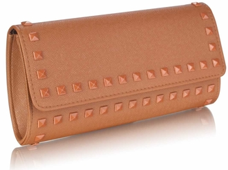 LSE0026 - Coffee Studded Clutch Evening Bag