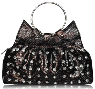 LS0028 - Brown Small Croc Diamante Studded Handbag